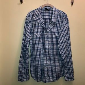 Men's plaid button down shirt XL